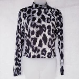 Olivia Rae Long Sleeve Mock Animal Print Top NWT
